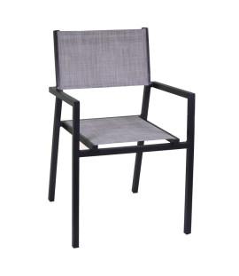 Sedia poltrona da giardino esterno piscina in alluminio e textilene Cleveland Grigio