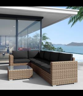 Set salotto divano angolare da giardino in rattan sintetico da esterno Andresa