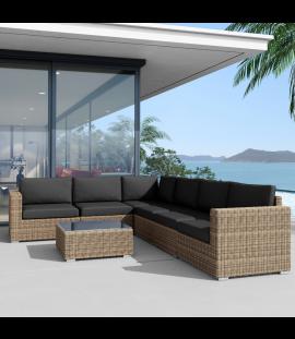 Set salotto divano angolare da giardino in rattan sintetico da esterno Andresa XL