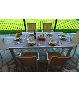 Set Tavolo da pranzo estensibile  in alluminio da esterno giardino Cleveland Bianco