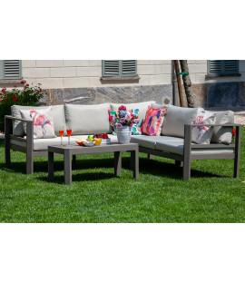 Set salotto divano angolare da giardino in alluminio da esterno Riverside