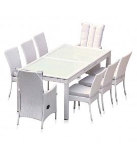Set tavolo da pranzo estensibile in rattan sintetico Kamea White
