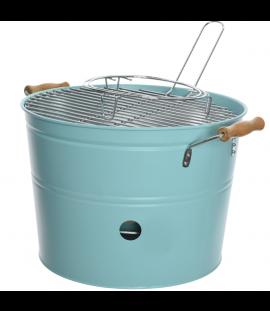 Barbecue A Carbonella Portatile In Metallo E Manici In Legno Ø 33 Cm. Celeste