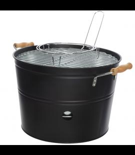 Barbecue A Carbonella Portatile In Metallo E Manici In Legno Ø 33 Cm. Nero