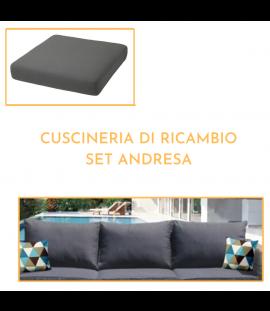 Cuscineria di Ricambio Set Andresa – Divano 2 Posti (4 cuscini totali), 2 Poltrone (4 cuscini totali)
