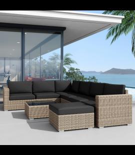 Set salotto divano angolare da giardino in rattan sintetico da esterno Andresa XL con chaise longue