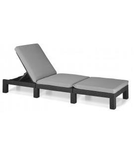 Lettino prendisole da piscina Albert in resina simil rattan Graphite