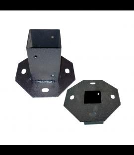 Supporto per Pali in Legno, Piastra per Fissaggio, Quadrata Nero in Metallo Zincato – 14,5x14,5