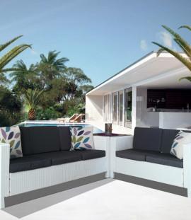 Set 2 divani in rattan 2 posti e 3 posti salotto angolare da giardino Afef white