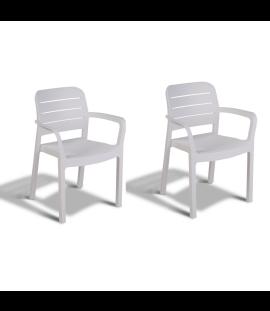 Set 2 Sedie da Giardino in Resina  Antiurto Impilabili Design Moderno ed Ergonomico 58x53x83 Bianco