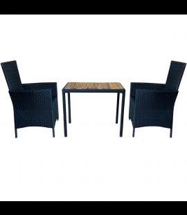 Set Tavolo e Sedie da Balcone per Esterno, in Rattan e Legno 2 Posti – Antracite 75x50x63h