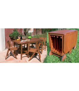 Set tavolo 4 posti richiudibile in legno da giardino Catalina