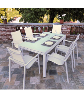 Set tavolo da pranzo 6 posti in alluminio Smeralda