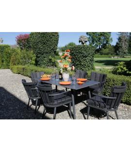 Set Tavolo da pranzo rettangolare in alluminio da esterno giardino Chicago nero