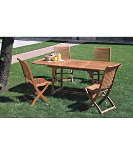 Set tavolo estensibile 6 posti in legno balau da giardino Estrella