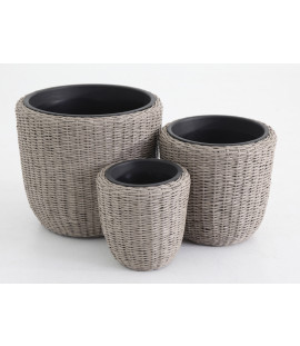 Set tre vasi circolari in rattan
