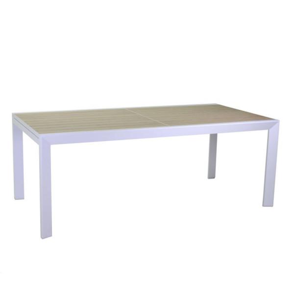tavolo da pranzo in alluminio effetto legno