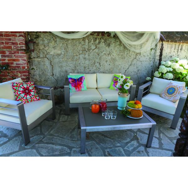 Salotto da giardino in alluminio con divano due posti 2 poltrone e tavolino