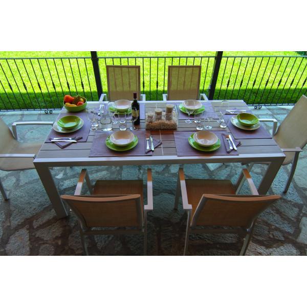 Tavolo da pranzo estensibile in alluminio da esterno giardino Cleveland