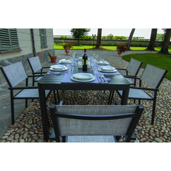 Tavolo da pranzo estensibile in alluminio da esterno giardino Cleveland grigio