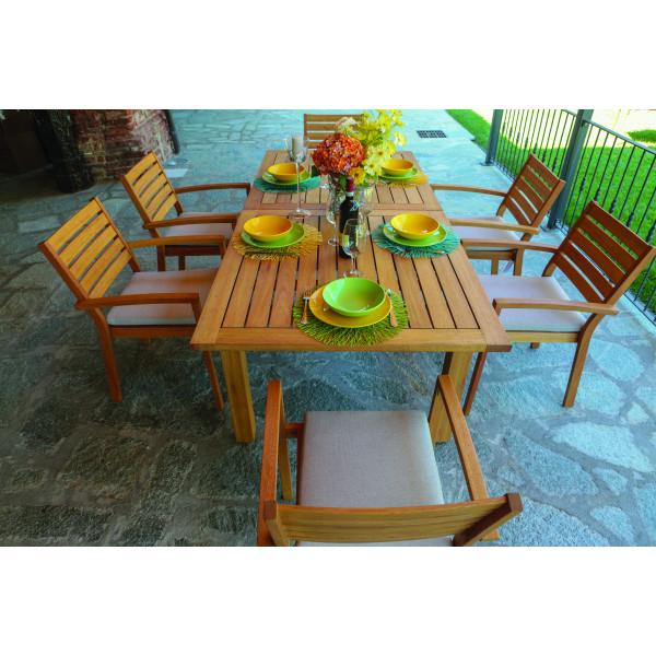 Set tavolo estensibile 6 posti in legno naturale da giardino Nanchino