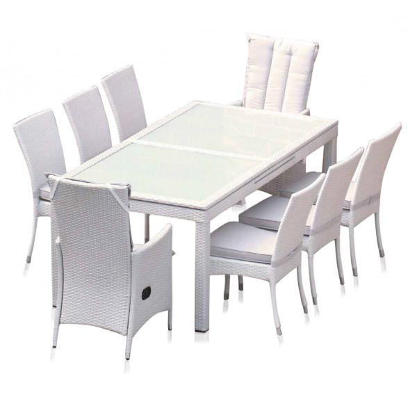 tavolo estensibile in rattan sintetico bianco