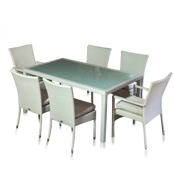 tavolo rattan sintetico bianco