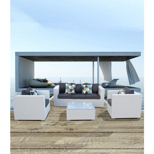 salotto da esterno saturno divano e poltrona da giardino arredo piscina rattan