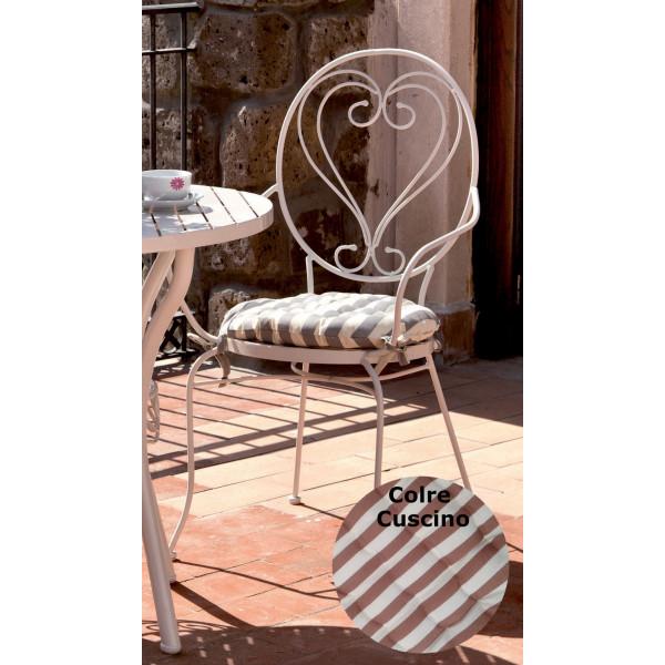 Set 4 sedie da giardino in acciaio Bianco Noemi