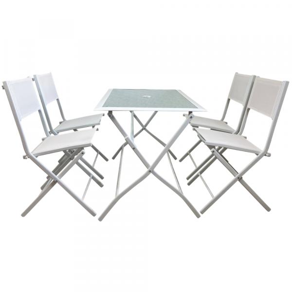 Set Tavolo E 4 Sedie Da Giardino In Acciaio E Vetro Temperato