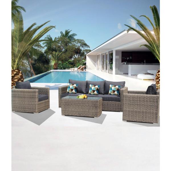 Set salotto divani da giardino in rattan sintetico andresa for Divani da giardino