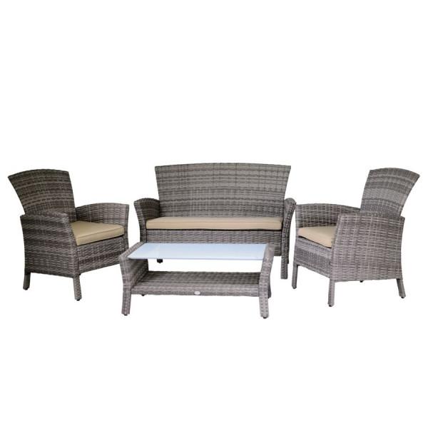 Vasi Rattan Sintetico Prezzi.Set Salotto In Rattan Sintetico Agata Grey Luxury Garden