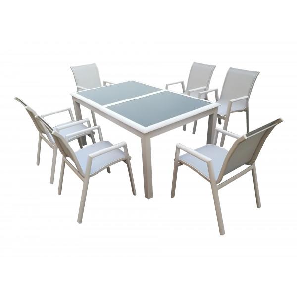 Tavoli Da Giardino In Alluminio.Set Tavolo Da Pranzo Estensibile In Alluminio Da Esterno Giardino