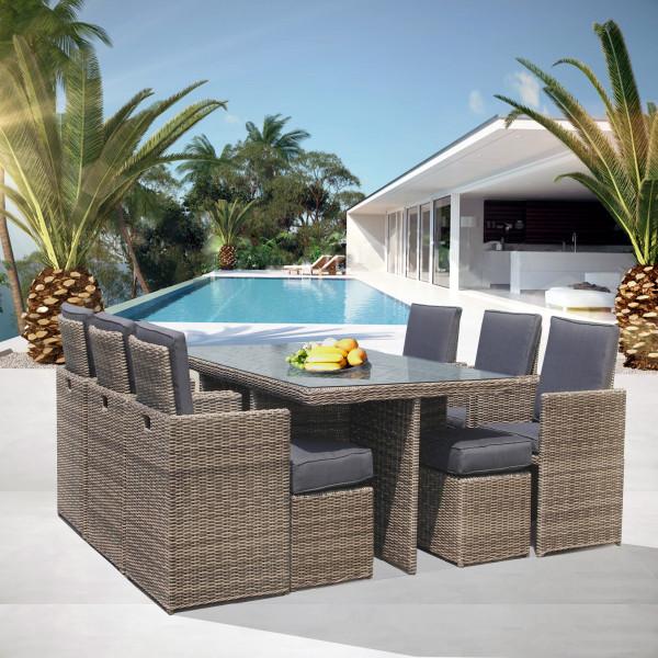 Tavolo in rattan 10 posti arredo giardino luxurygarden for Set giardino esterno