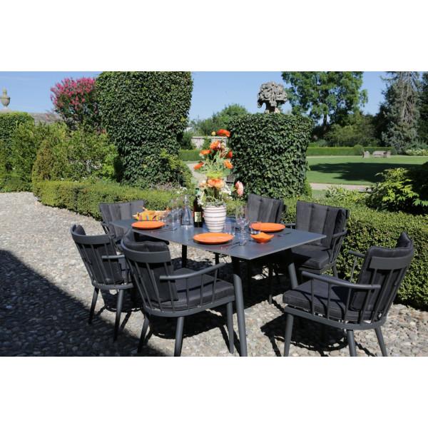 Tavolo da pranzo rettangolare in alluminio da esterno giardino Chicago nero