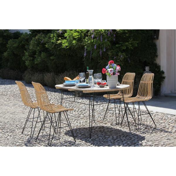 Set Tavolo Giardino Legno.Tavololo Rattan Estensibile Luxurygarden