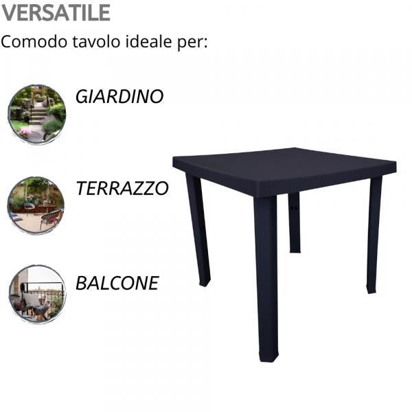 Tavolo per Esterno Quadrato 4 Posti in Resina 80x80x72h Nero